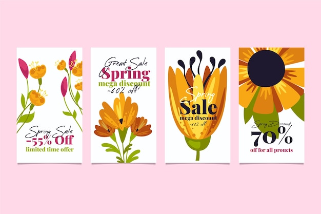 Spring sale instagram story collection with beautiful flowers