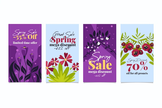 Spring sale instagram story collection with colorful flowers