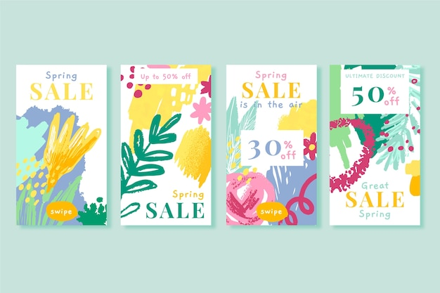 Spring sale instagram story collection with hand drawn flowers