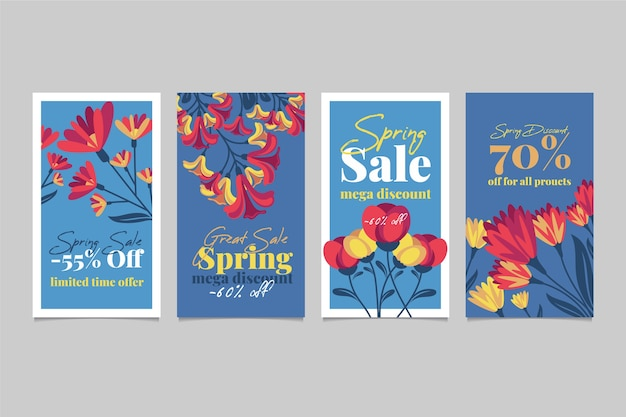 Spring sale instagram story collection with tulips