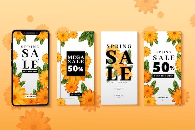 Spring sale instagram story set