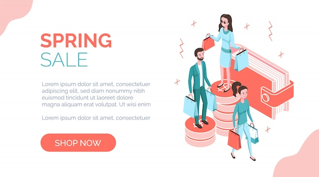 Spring sale isometric banner with people