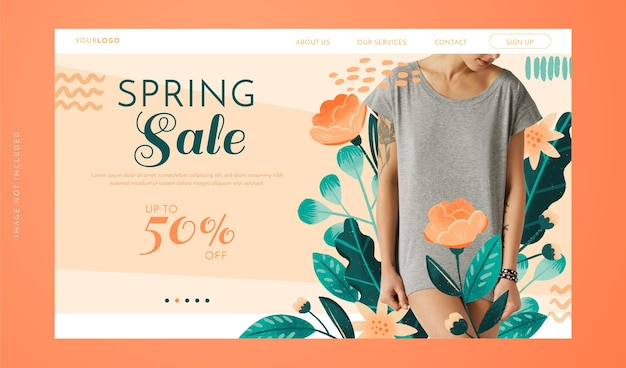 Pagina di destinazione della vendita di primavera in stile disegnato a mano