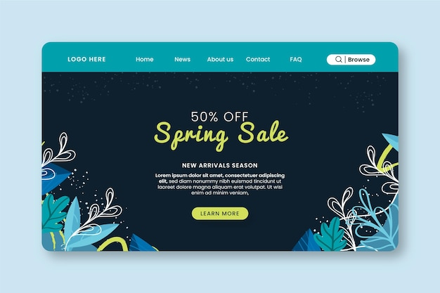 Spring sale landing page web template