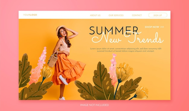 Spring sale landing page with photo hand drawn flowers