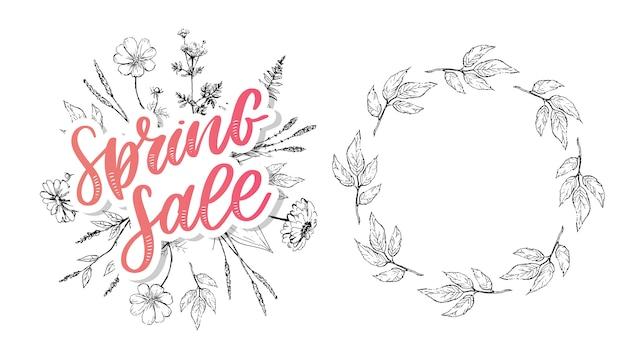 Spring sale lettering, banner template and floral frame  set