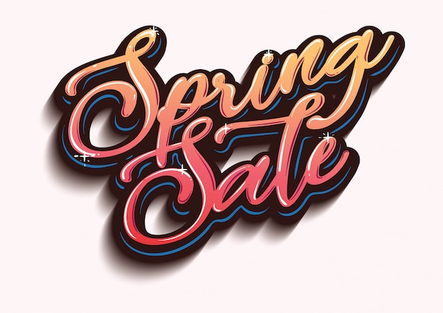 Spring sale lettering tags with gradient style  vector