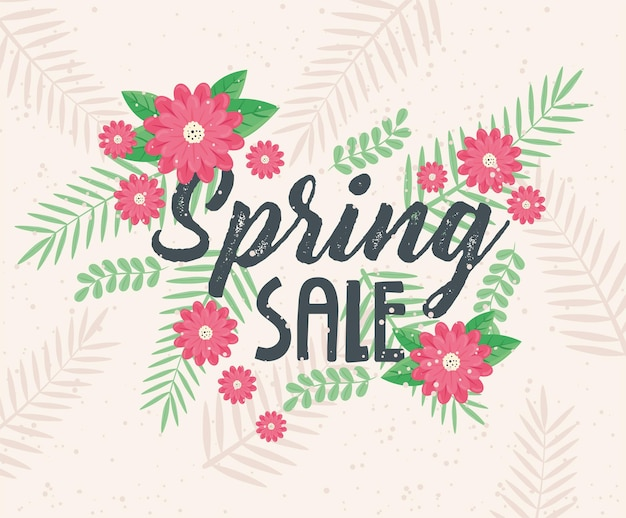 Spring sale lettering with red flowers garden  illustration