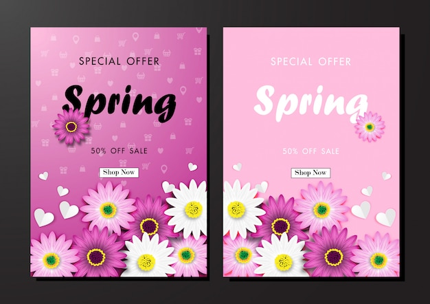 Spring sale off background with colorful daisy flower blossom design vector