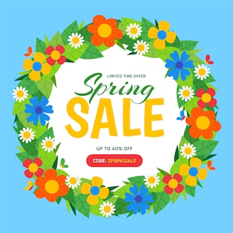 Spring sale offers with wreath of flowers