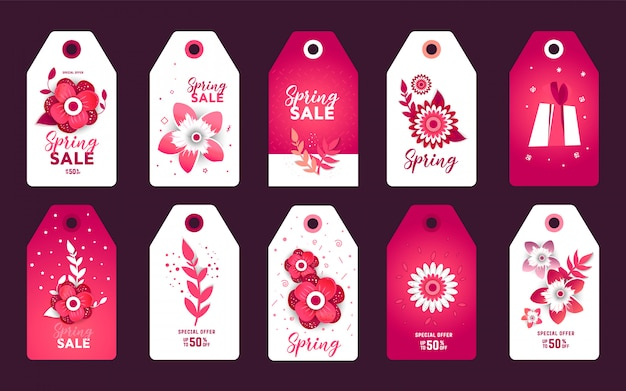 Spring sale paper cut label sticker set.