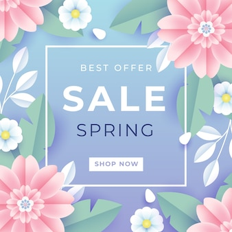 Spring sale in paper style with flowers