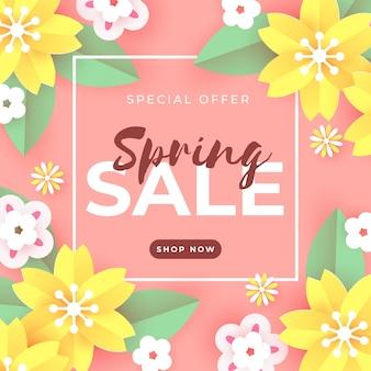 Vendita di primavera in stile carta con fiori gialli