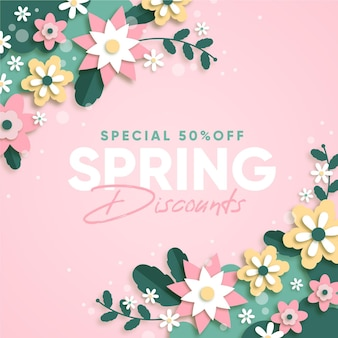 Spring sale in paper style