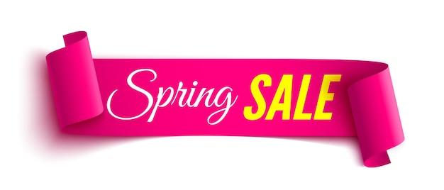 Весенняя распродажа розовая лента стикер