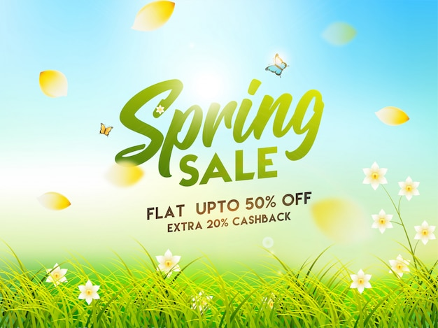 Spring sale poster or banner design