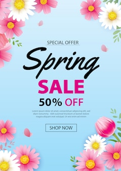 Spring sale poster banner with blooming flowers background