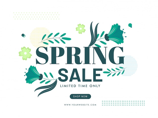 Spring sale poster design with green flowers and leaves on white background.