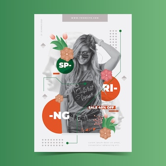 Spring sale poster template on green background