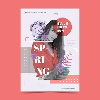 Spring sale poster template on pink background
