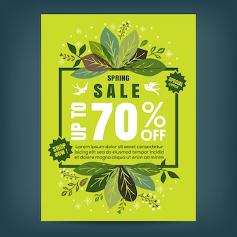 Spring sale poster template with leaves and frame