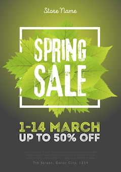 Spring sale poster template with leaves and frame in green black background. vector illustration.