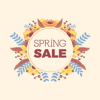 Spring sale poster with floral decoration