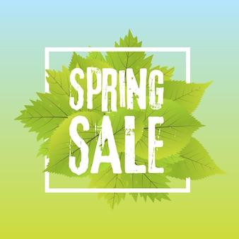 Spring sale poster with green leaf. vector banner template illustration.