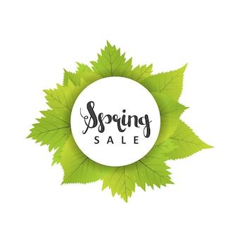 Spring sale poster with green leaf. vector banner template illustration
