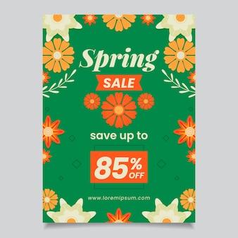 Spring sale savings flyer flat design template