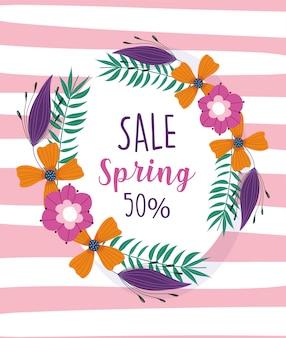 Spring sale, season offer wreath flowers layout card