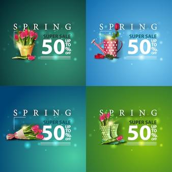 Весенняя распродажа набор весенних квадратных скидок баннеров с большими белыми цифрами, современной типографикой и цветами