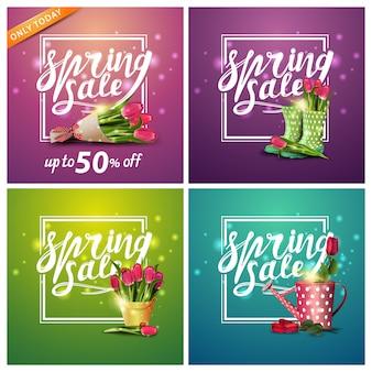 Весенняя распродажа, набор квадратных скидок баннеров с цветами