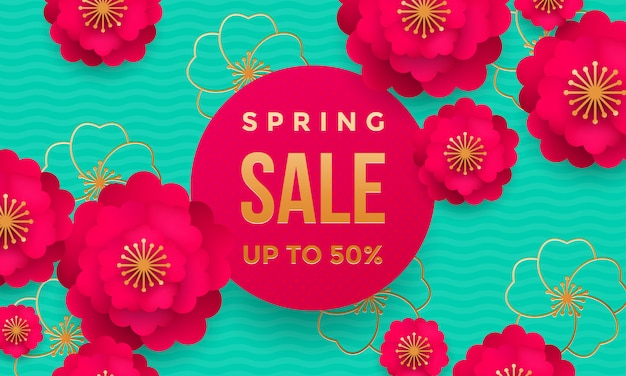 Spring sale shop poster or web banner flower pattern and golden text template for springtime seasonal discount store and promo offer template