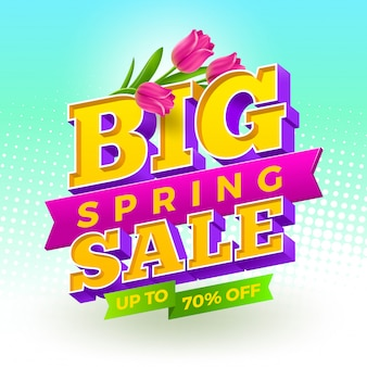 Spring sale sign with tulips flowers on a halftone background.   illustration.