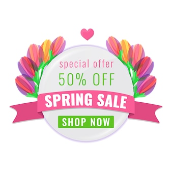 Spring sale special offer banner with colorful blooming tulips flowers and ribbon.