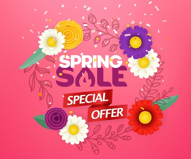 Spring sale special offer. blank round frame with abstract color flowers. vector season banner