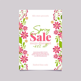 Spring sale in stores flyer flat design template