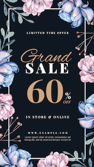 Spring sale story with hand-drawn floral decoration
