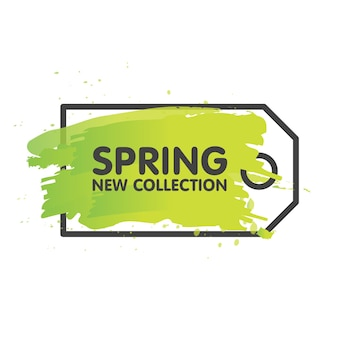 Spring sale tag concept in painted brush background. seasonal banner label template. vector illustration.