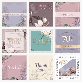 ソーシャルメディアの投稿セットの春の販売テンプレートベクトル