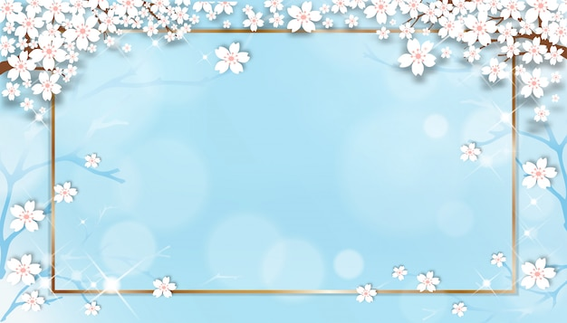 Spring sale template with cherry blossoming branches with golden frame on blue pastel background.
