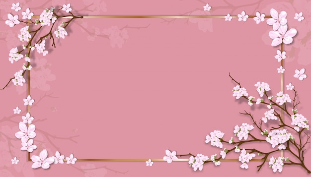 Spring sale template with cherry blossoming branches with golden frame on pink pastel background.