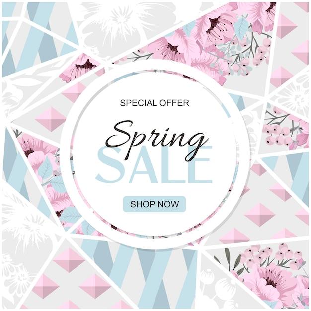 花とフレームの春のセールベクトルバナーデザイン。大理石の背景にピンクのバラ。
