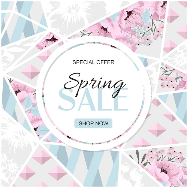 Spring sale vector banner design with flowers and frame. pink roses on marble background.