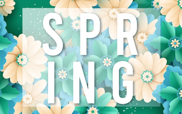 Spring sale vector banner design with flowers