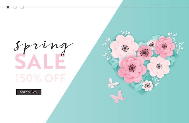 종이 컷 꽃 봄 판매 웹사이트 템플릿입니다. 방문 페이지, 전단지, 브로셔에 대한 꽃 요소와 온라인 쇼핑을 위한 봄 할인 제공 웹 배너. 벡터 일러스트 레이 션