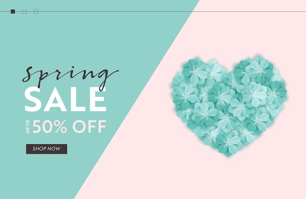 Spring sale website template with paper cut flowers. spring discount offer web banner for online shopping with floral elements for landing page, flyer, brochure. vector illustration