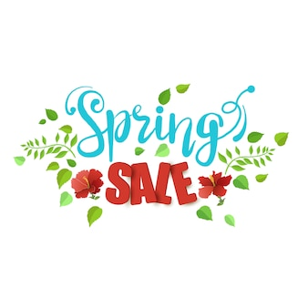 Spring sale with beautiful leaves and flowers