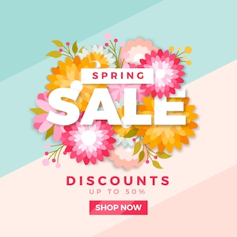 Spring sale with colorful flowers